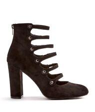 JustFab Vivienne Pump Womens UK 5 Black Faux Suede High Block Heel Shoes Sandals