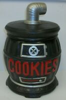 Vintage Art Pottery Pot Belly Stove Figural Cookie Jar