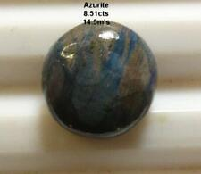 AZURITE, 8.51cts, VERY NICE COLOR and PATTERN, HIGH POLISH ROUND, *NATURAL*