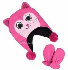 Girls baby fleece cat face pink hat & mittens 6-12-18-24 months 2T NWT cap set