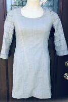 Lavia 18 Italy Saks 5Th Ave Designer Gray Italian Wool Stretch Dress Long Sleeve