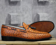 Handmade Men Ostrich Shoes, Men's Casual moccasin Shoes, Tussle Casual Shoes