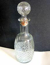 Clear Glass Cross Hatch Decanter Bottle Mogen David Wine 1982 w stopper FREE SH