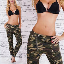 Deluxe Women's Cool Army Green Camouflage Inclined Zipper Harem Pants Trousers
