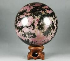 2.18lb Polished Natural Red Tourmaline Ball Specimen Crystal w/Rosewood Stand