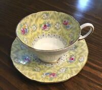 PARAGON Tea Cup & Saucer Pink Roses Yellow Evangeline 1930's Bone China Vintage