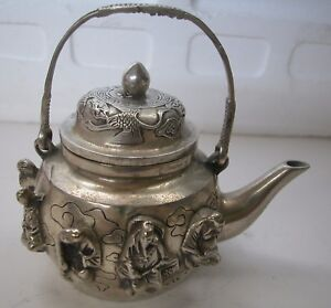 AN OLD HALLMARKED COPPER OR BRASS PLATED  HEAVY CHINESE TEAPOT