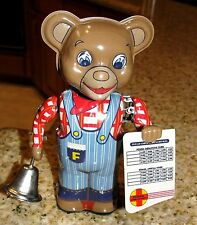 Fossil Railroad Conductor Tin Wind-Up Bear T.K.Toys Japan 90's Mint