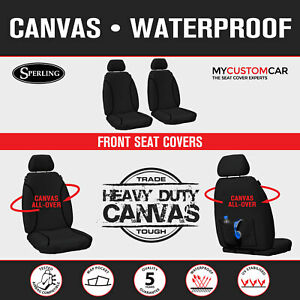For Toyota HiAce 2014-2019 TRADIES Black Waterproof Canvas Seat Covers