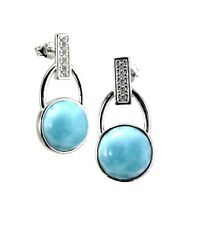 Larimar 100% Natural 10mm White Topaz accent..925 Sterling Silver Earrings