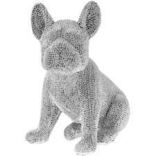 "LEONARDO Silver Art 7.9"" Sitting French Bulldog Ornament - Silver Sparkly Diamante (LP42730)"