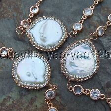 """K050102 34"""" White Coin Pearl Crystal Chain Necklace"""