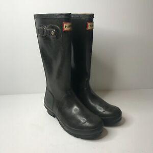 Hunter Original UK Size 1 Kids Gloss Black Wellington Rain Boots Wellies