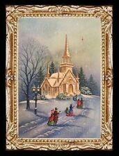 Vintage Winter Church Christmas Scene Miniature Dollhouse Picture