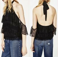 Zara Black Lace Halter Neck Top Size 6 8  XS New With Tags