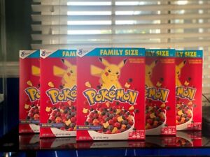 POKEMON Berry Bolt Cereal 6 BOXES - Factory Sealed - General Mills Family Size