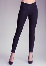 bebe Super Skinny Soho Coated Jeans Denim  Black Blue Side Zipper $119