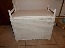 VINTAGE CHILDS WICKER AND WOOD STORAGE BENCH SEAT TOY BOX WHITE SHABBY CHIC