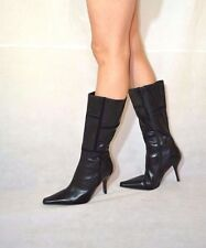 Women Black Over Calf Boots Point toes Stiletto Real Leather Barratts Size 7