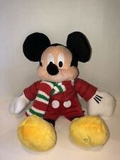 Disney Store 2010 MICKEY MOUSE Holiday Winter Stuffed Plush Red Coat Scarf