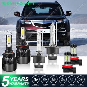 For Acura MDX 2007-2011 2012 2013 HID 6× LED Headlight Bulbs Hi/Lo+Fog Light Kit