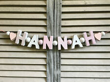 """""""HANNAH"""" PINK WOODEN LETTERS BABYNAME NURSERY DECOR PERSONALIZED NAME SHABBY"""