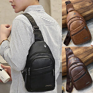 Men PU Leather Chest Cycle Sling Pack Satchel Shoulder Business Bag Packs Purse