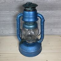 Vintage Dietz Ny USA Blue Little Wizard Kerosene Lantern Clear Glass