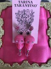 Tarina Tarantino Vintage Momento Mori Pink Lucite Skull Swarovski Earrings