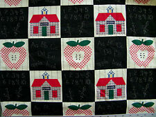 APPLE SCHOOL HOUSE PATCH  PRINT 100% COTTON FABRIC BY THE 1/2 YARD VINTAGE