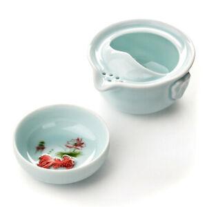 Kettle Cup Teapot Ceramic Celadon 3D Carp 1 Tea Pot 1 Tea China Kung Fu Tea Set