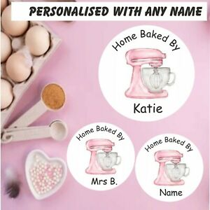 48 Personalised Baking Stickers Gift labels ANY NAME cakes cake box cupcakes etc