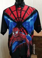 SPIDER-MAN Marvel Comics All Over Button Front Short Sleeve Shirt 2- Sided Sz XL