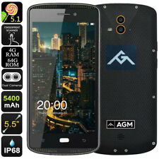 """5.5"""" AGM 4G Smartphone Unlocked Rugged Android Mobile Waterproof Dual SIM AMOLED"""