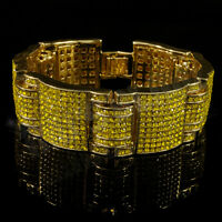 14k Gold Canary Simulate Diamond Micro Paved Out Iced Hip Hop Bling Bracelet 3
