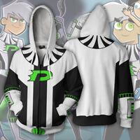 Danny phantom hoodie Cosplay Jacket Sweatshirt Hooded Jacket Coat men hoodie