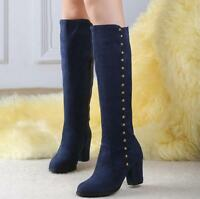 New Women's Fashion Shoes Zip Faux Suede High Heel Knee High Boots UK Size3-10