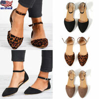 Women's Suede Pointed Toe Flat Sandals Casual Ankle Strap Buckle Sandals Shoes