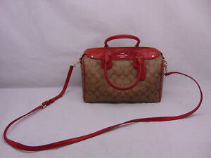 New Coach F36187 Tan and Red Bennett Satchel    #175