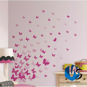 37 Mixed size Butterfly Design Wall Art Stickers Kid Decals baby nursery bedroom
