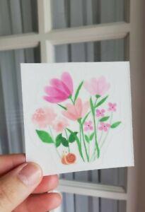 Cute Snail Floral Transparent Vinyl Sticker