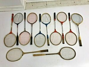 12 Vintage RACQUET LOT wood badminton wall art man cave decor wooden racket vtg