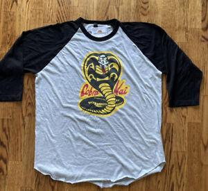 kobra kai raglan 3/4 shirt XXL Officially Licensed Merchandise NWT Gray Black