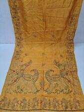Peacock Dgn Mustard Color 100% Pure Silk Hand Embroidery Kantha Saree Sari