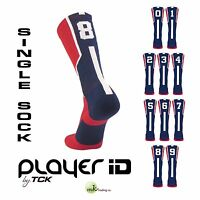 TCK® Player ID Elite Number Sock, Red/Navy/White - (0-9) - (Buy 2 for a pair)