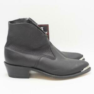 Double H Womens Side Zipper Black Ankle Boots Pointed Toe DH5174 9M