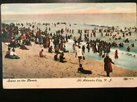 Vintage Postcard>1908>Scene on the Beach>Atlantic City>New Jersey