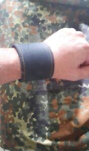 195mm-200mm wrist navy blue leather cuff #141
