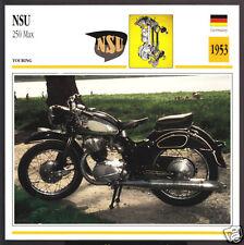 1953 NSU 250cc Max (247cc) German Motorcycle Photo Spec Sheet Info Stat Card