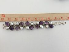 "925 Sterling Silver Pearl Amethyst Large 9 1/2""  Bracelet 87.2 Gram"
